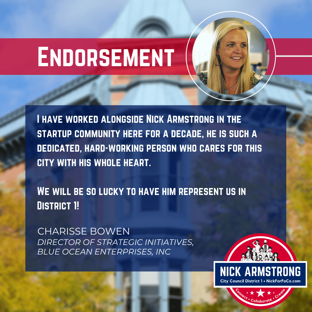 Charisse Bowen Endorses Nick Armstrong for District 1