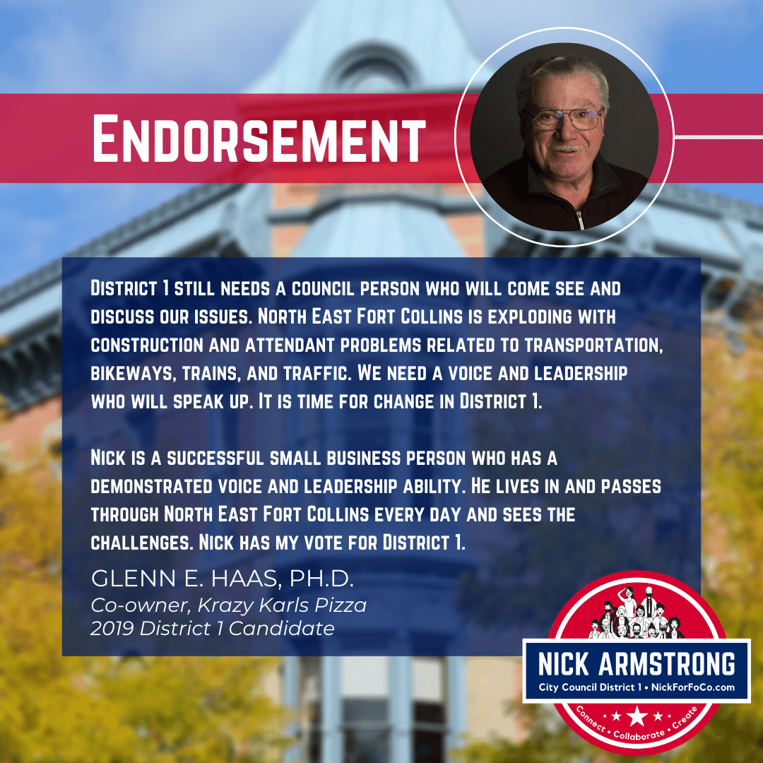 Glenn Haas Endorses Nick Armstrong for District 1
